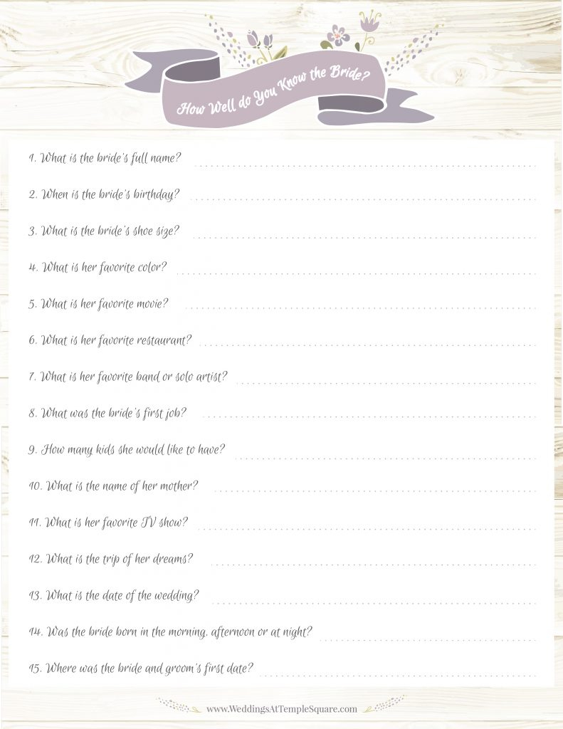 6 Bridal Shower Game Ideas (Free Printables!) | Temple Square - How Well Do You Know The Bride Game Free Printable