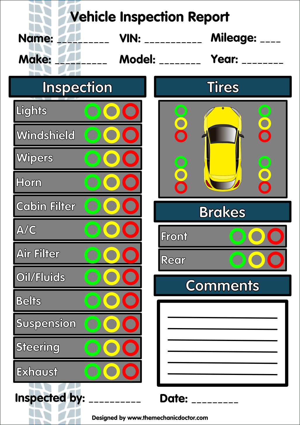 6 Free Vehicle Inspection Forms - Modern Looking Checklists For - Free Printable Vehicle Inspection Form