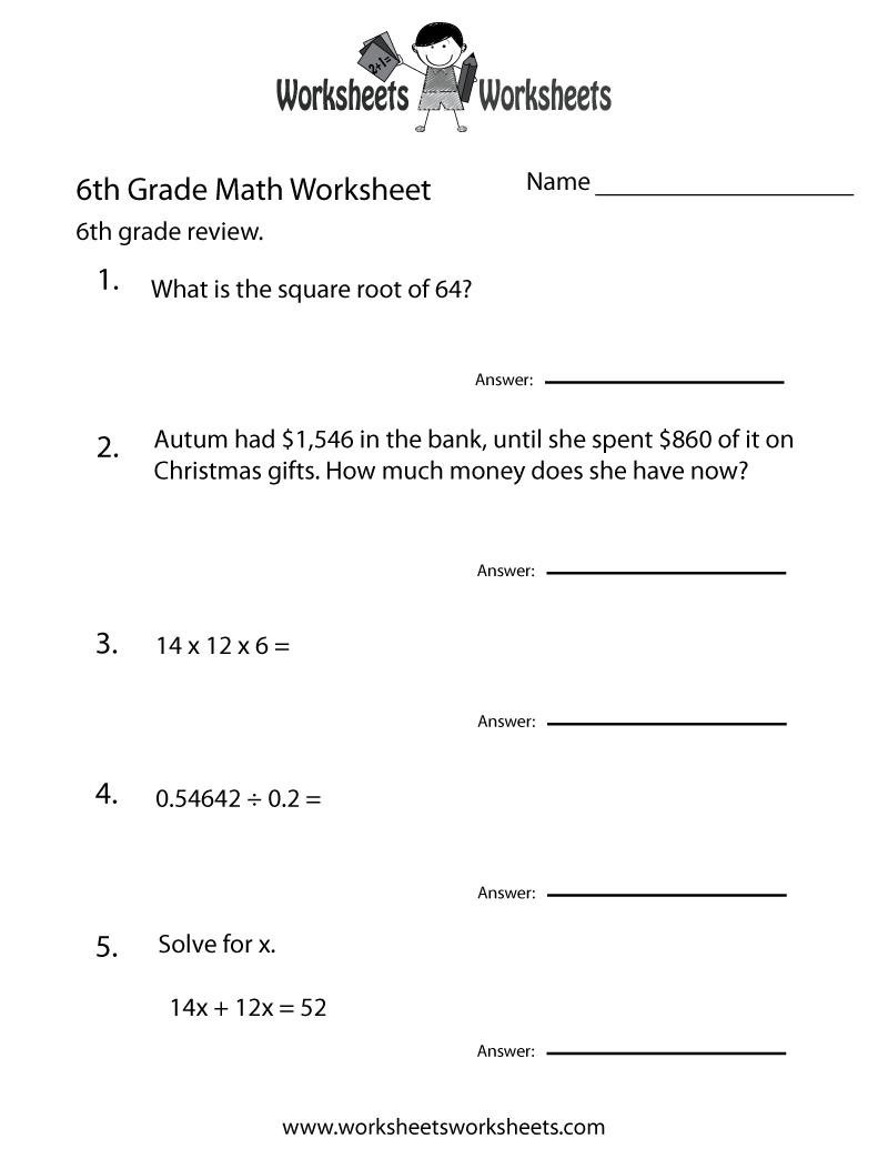 6 Grade Math Worksheets   Sixth Grade Math Practice Worksheet - Free - Year 6 Maths Worksheets Free Printable