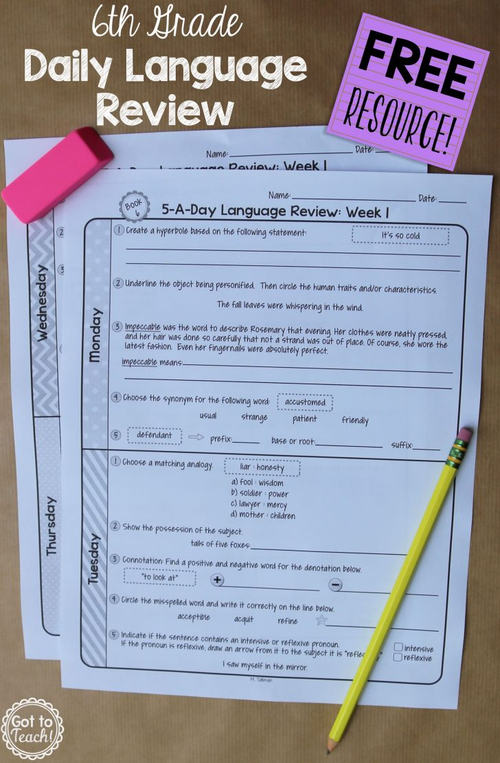 Daily Language Review Grade 5 Free Printable