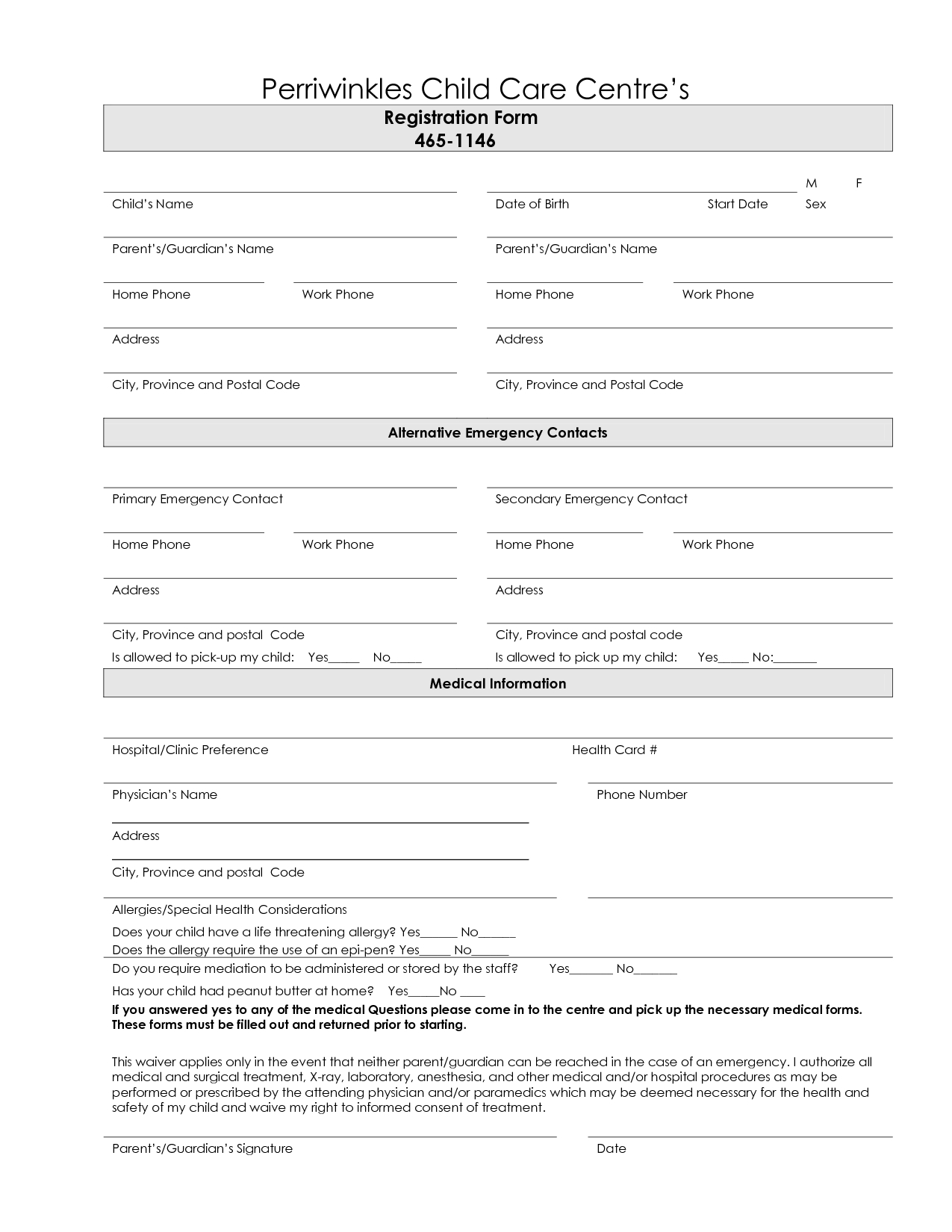 7 Best Images Of Printable Daycare Forms Free Daycare Contract Forms - Free Printable Daycare Forms
