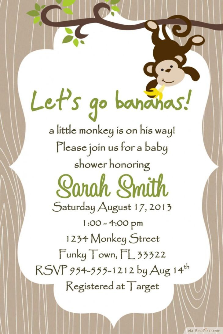 7 Printable Monkey Baby Shower Invitations | Bestpickr - Free Printable Monkey Birthday Party Invitations