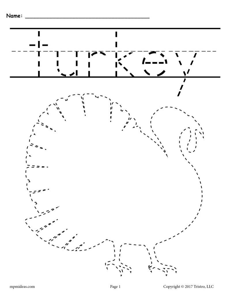 8 Free Printable Thanksgiving Tracing Worksheets & Handwriting - Free Printable Thanksgiving Worksheets