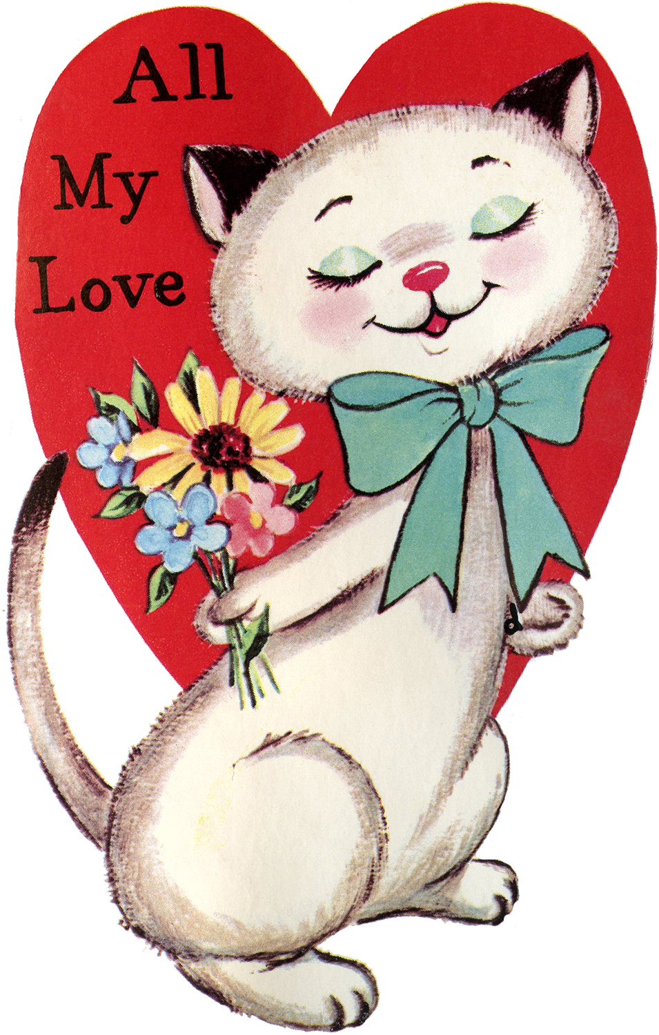 9 Retro Valentines With Animals! - The Graphics Fairy - Free Printable Cat Valentine Cards