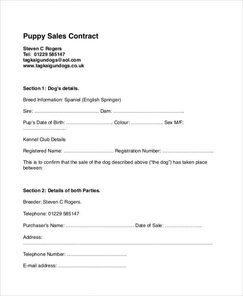 9+ Sample Puppy Sales Contracts | Sample Templates Intended For Free - Free Printable Puppy Sales Contract