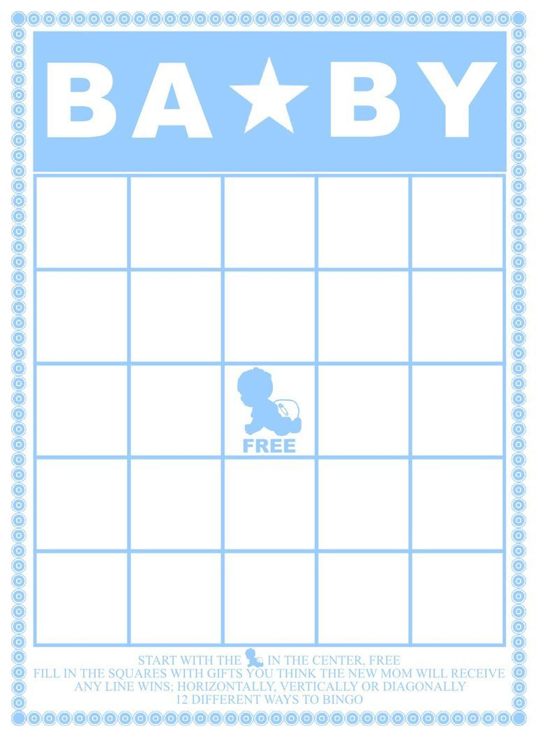A Blue And White Baby Shower Bingo Card. | Baby Shower | Pinterest - Free Printable Baby Shower Bingo
