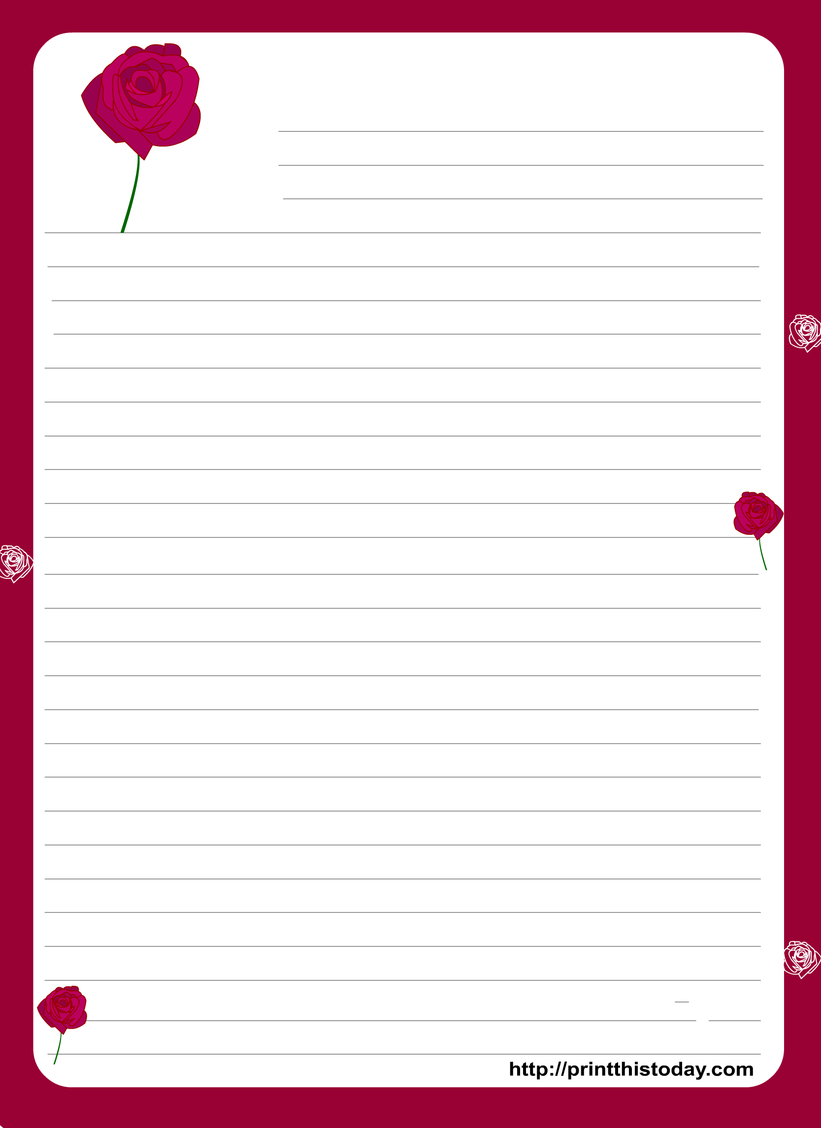 A Cute Letter Writing Paper Decorated With Cute Hearts Is Great To - Free Printable Love Letter Paper