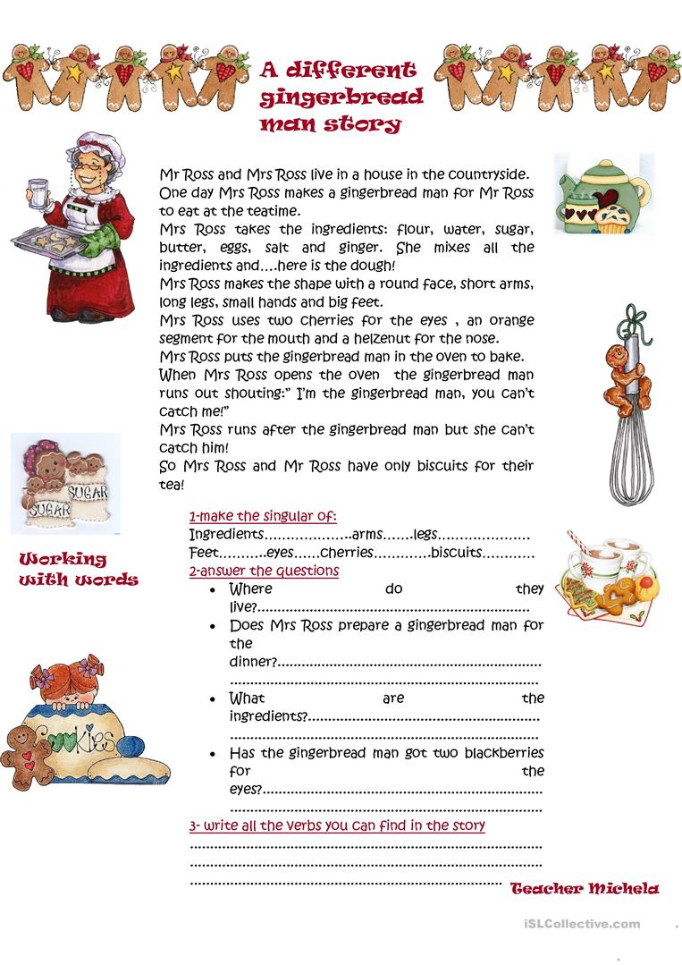 A Different Gingerbread Man Story Worksheet - Free Esl Printable - Free Printable Version Of The Gingerbread Man Story