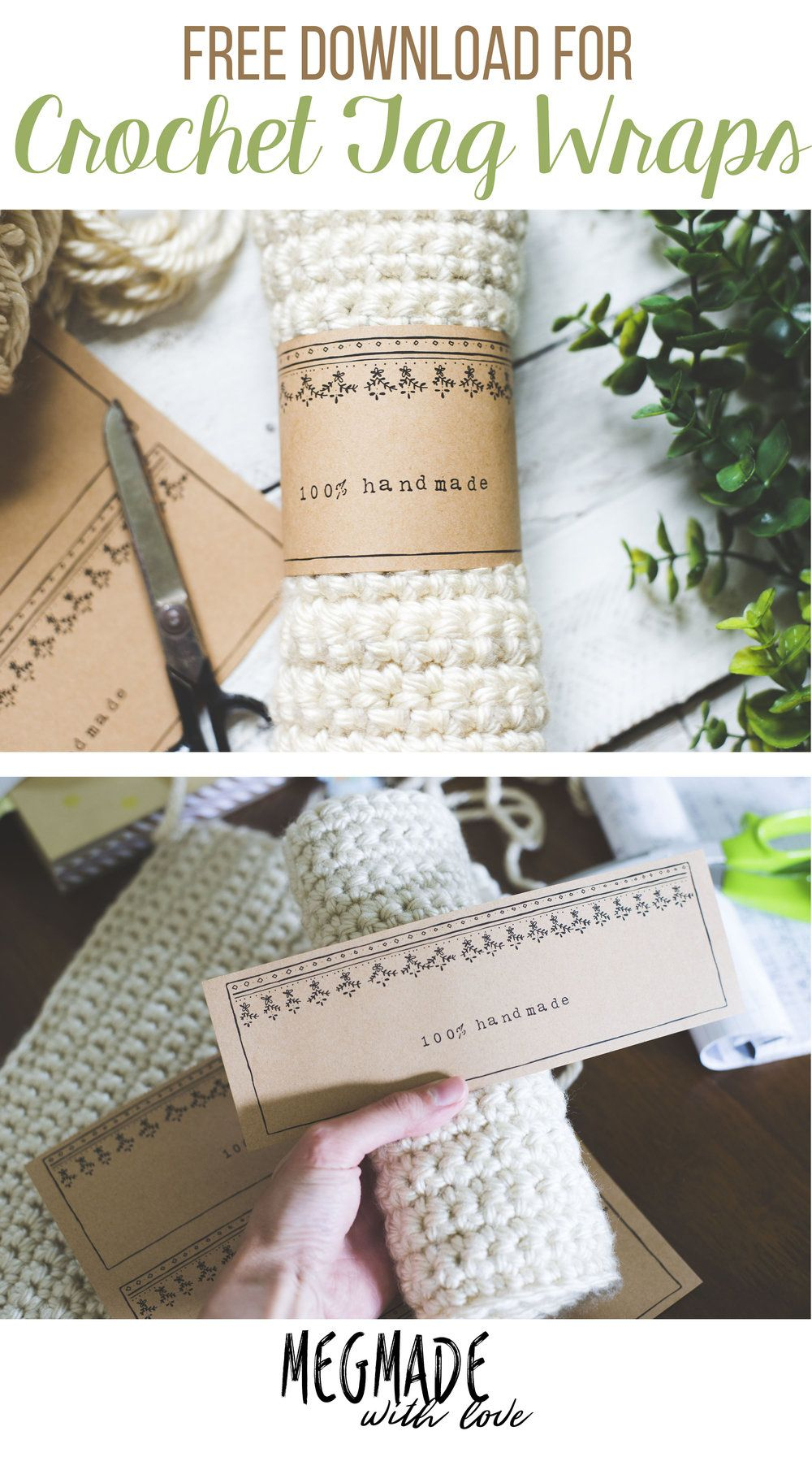 A Free Download For Crochet Tag Wraps | * Crochet | Crochet - Free Printable Dishcloth Wrappers