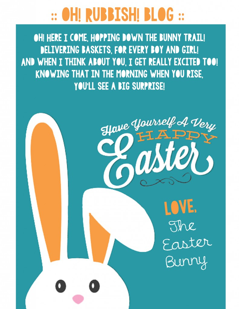 A Letter From The Easter Bunny :: Printable Easter Bunny Poem - Free Printable Poetry Posters