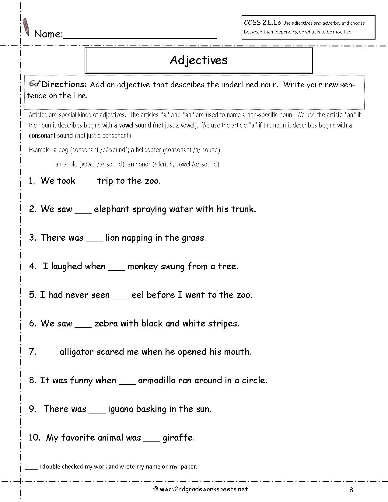 A Or An Worksheet For Grade 2 - Google Search | Education - Free Printable Grammar Worksheets For 2Nd Grade