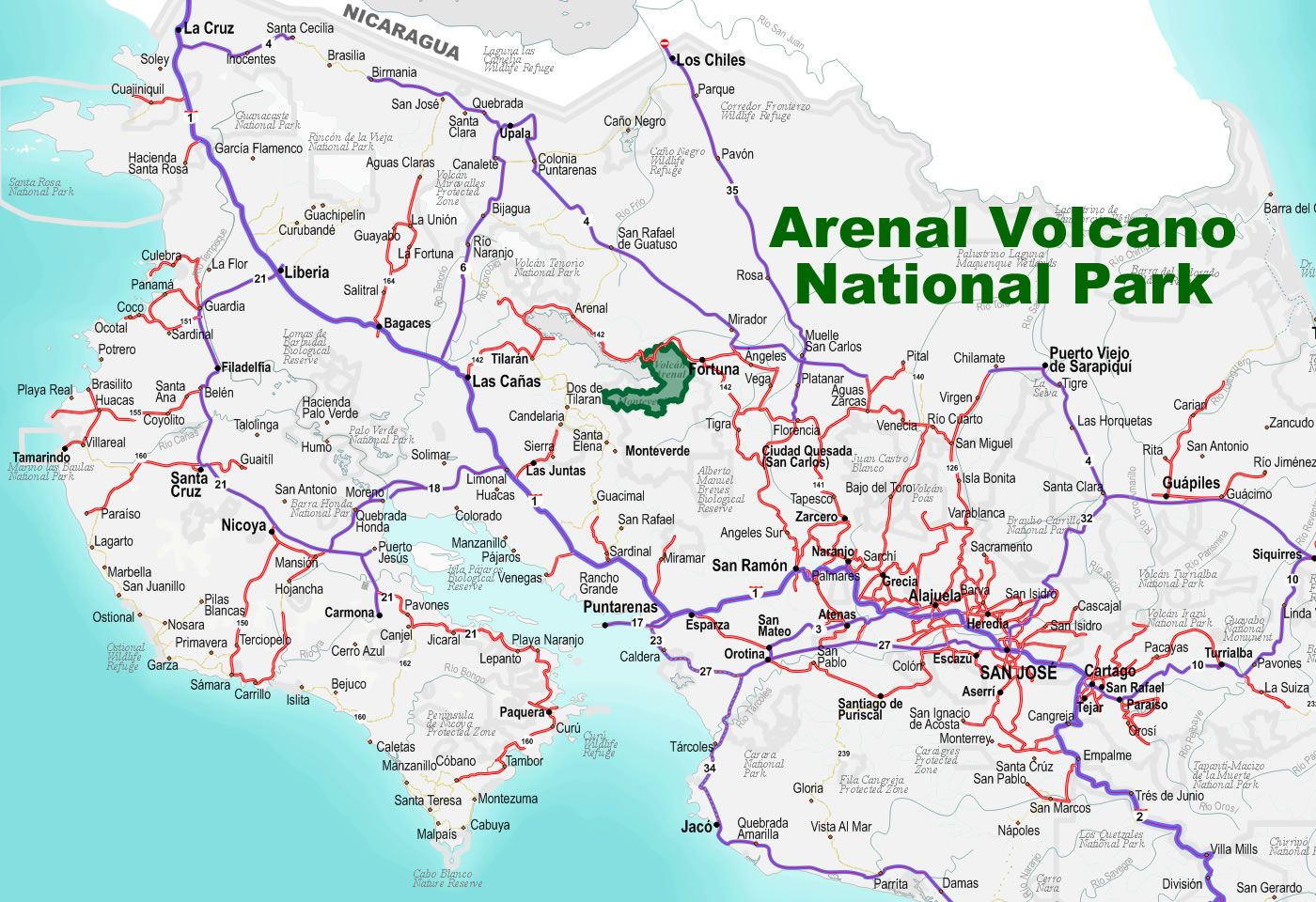 A Road To Arenal Volcano National Park In Costa Rica   Free - Free Printable Map Of Costa Rica