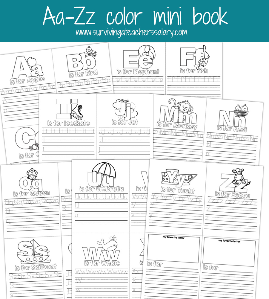 Aa-Zz Alphabet Letter Mini Color Book Practice Printable - Free Printable Bat Writing Paper