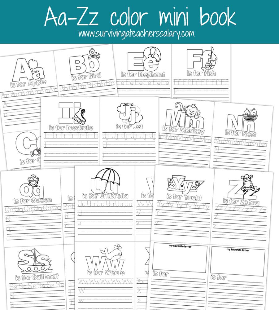 Aa-Zz Alphabet Letter Mini Color Book Practice Printable - Free Printable Mini Books