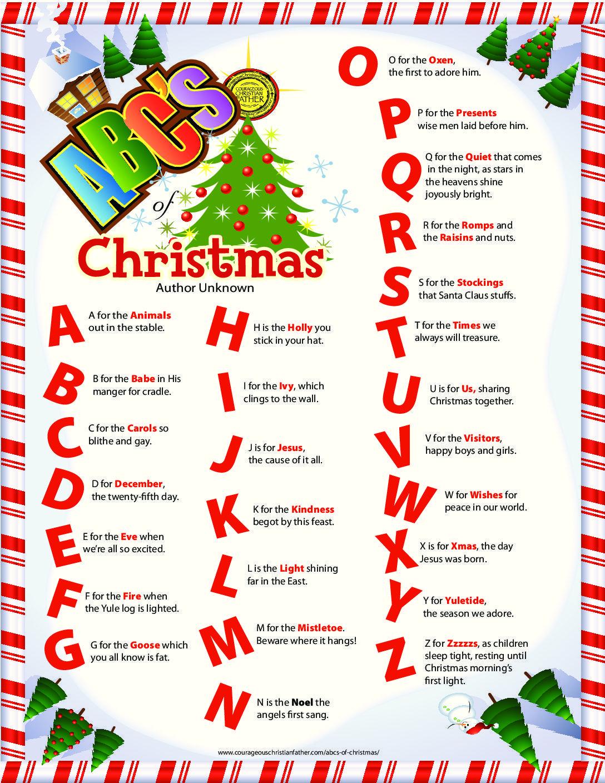 Abc's Of Christmas | Christmas | Christmas, Christmas Alphabet - Free Printable Christmas Alphabet