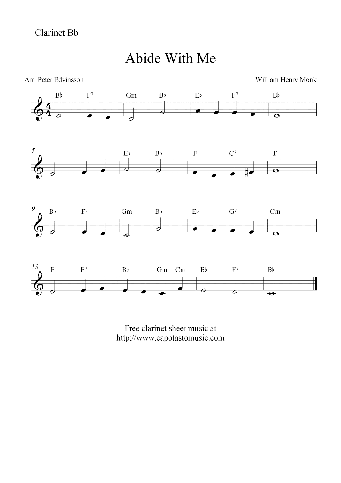Abide With Me, Free Easy Clarinet Sheet Music - Free Printable Clarinet Sheet Music