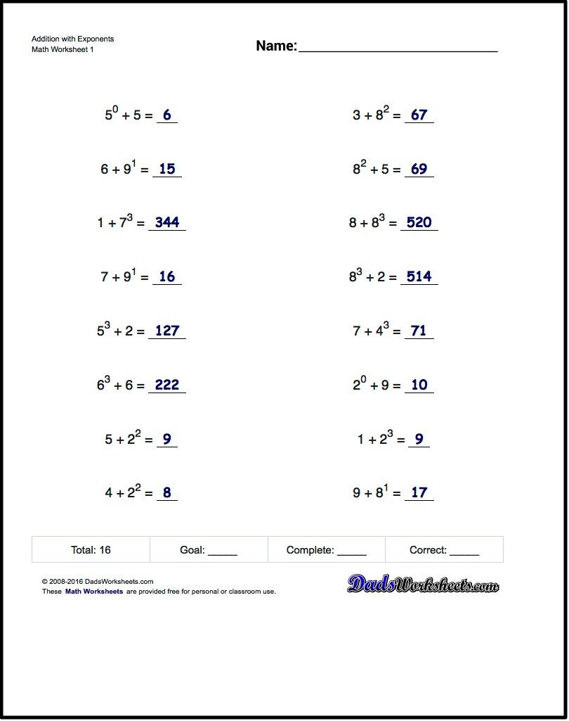 Adding Exponents Worksheets, Including Simple Problems Where - Free Printable Math Worksheets 6Th Grade Order Operations