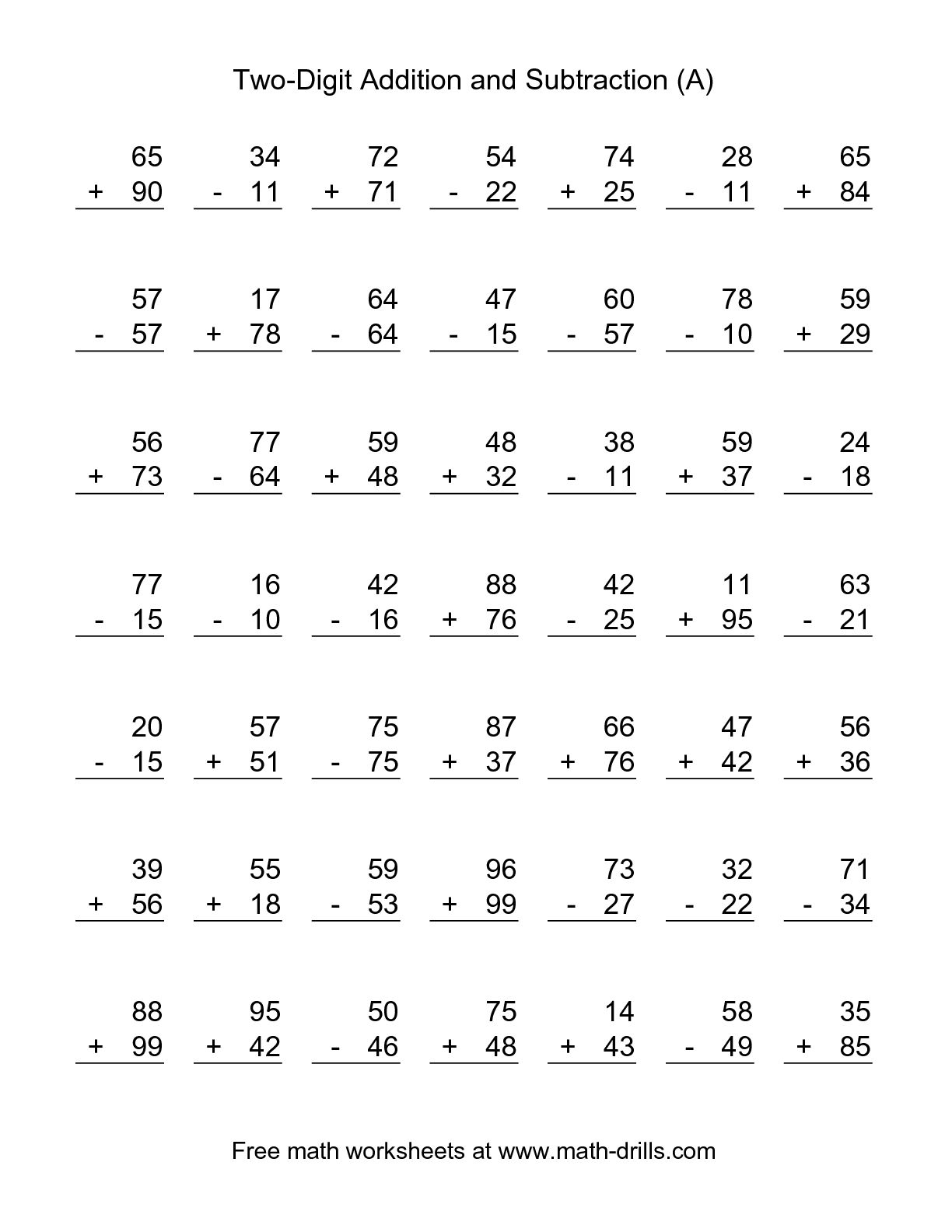 Addition And Subtraction Worksheets. Addition. Alistairtheoptimist - Free Printable Addition And Subtraction Worksheets