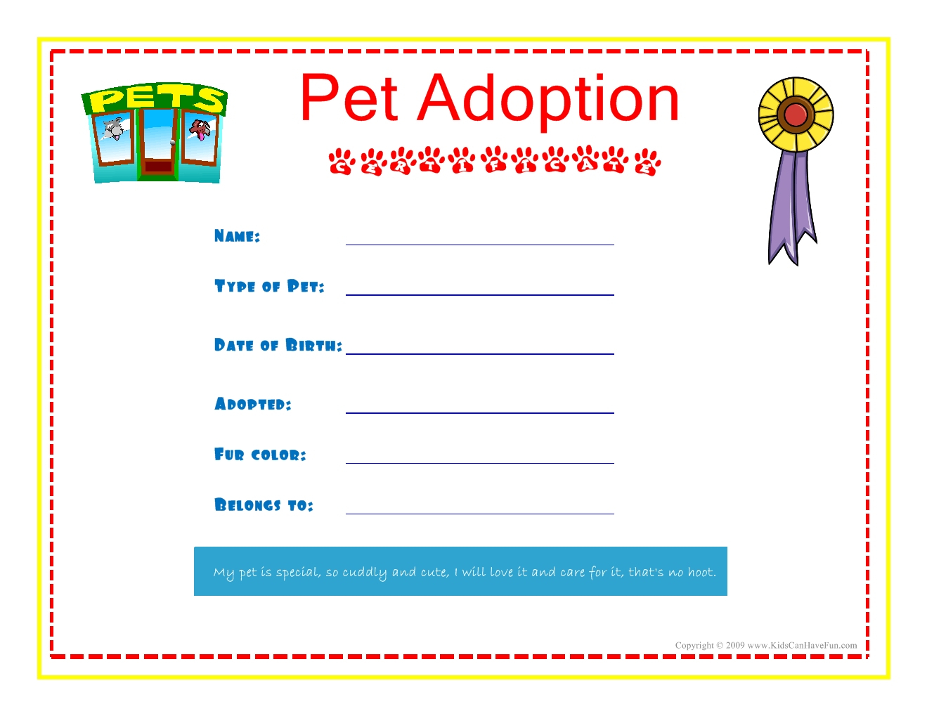 Adoption Certificate Template Fast Pet Adoption Certificate For The - Free Printable Stuffed Animal Adoption Certificate