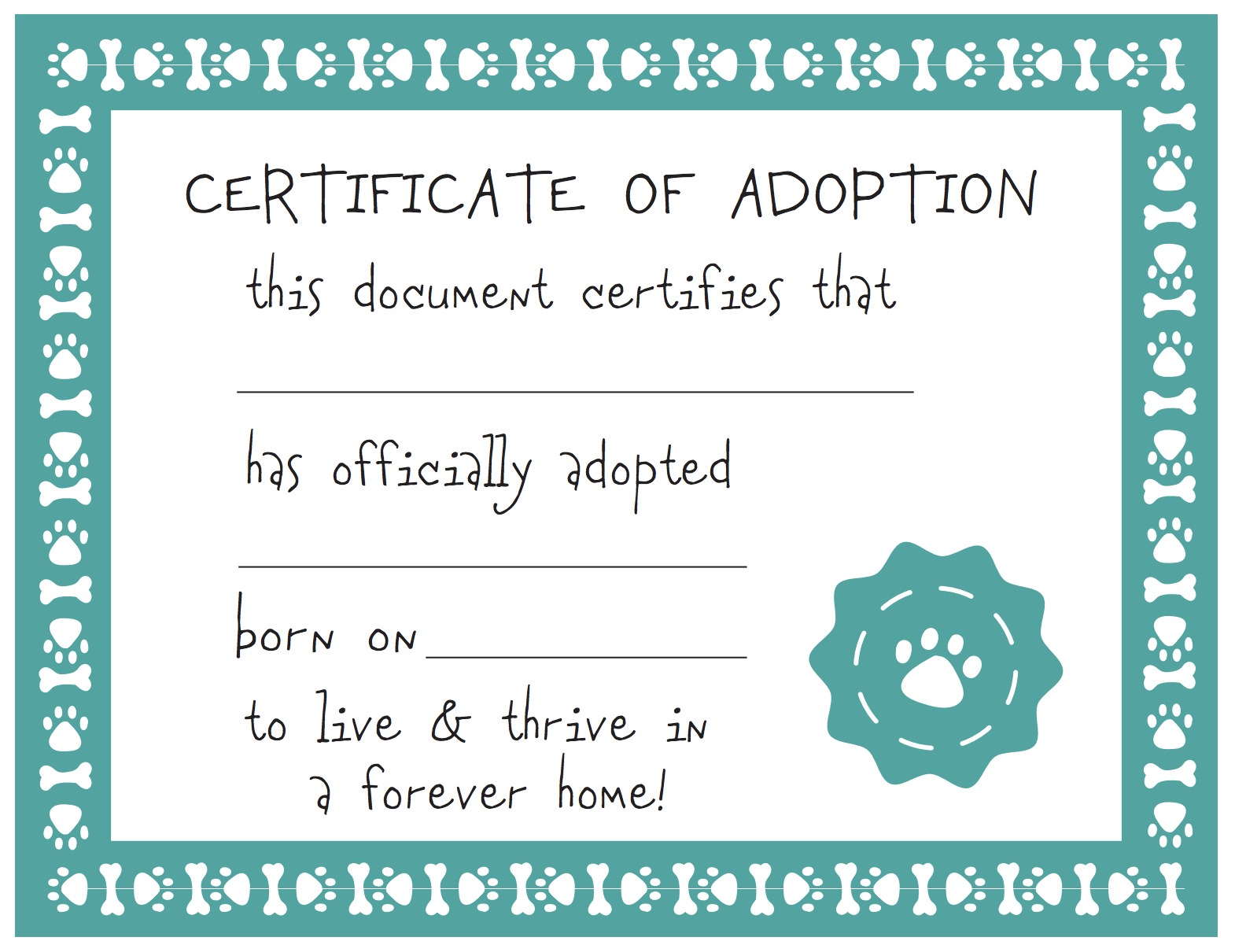 Adoption Certificate Templates And Pet Template With Dog Plus Free - Fake Adoption Certificate Free Printable