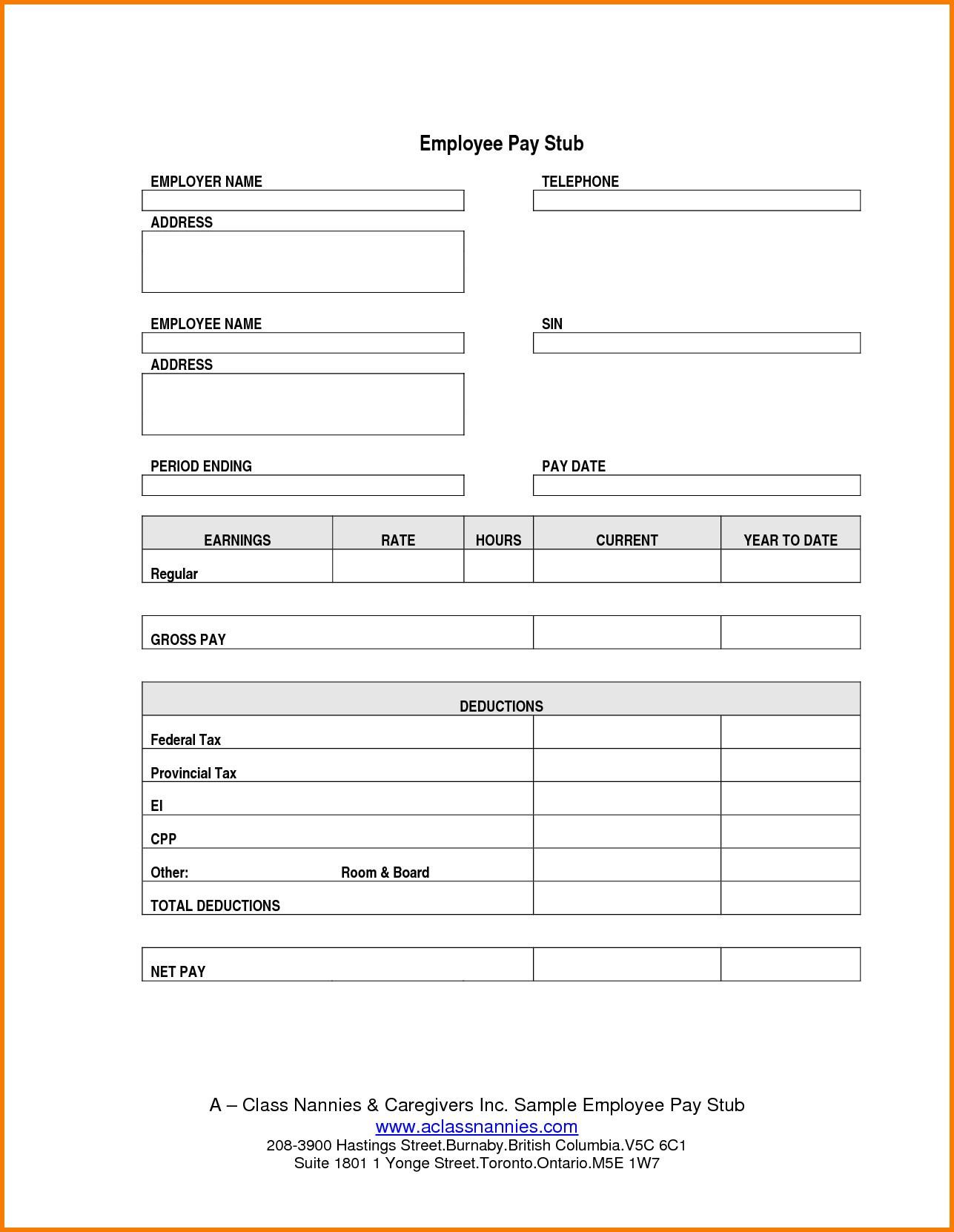 Adp Paystub Template Payroll Sheet Editable Free Printable Check - Free Printable Pay Stubs