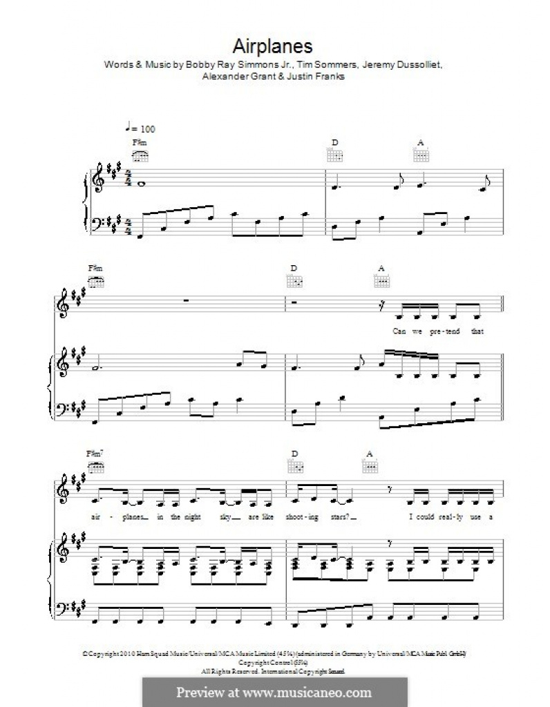 Airplanes (B.o.b. Featuring Hayley Williams)A. Grant, B.r. - Airplanes Piano Sheet Music Free Printable