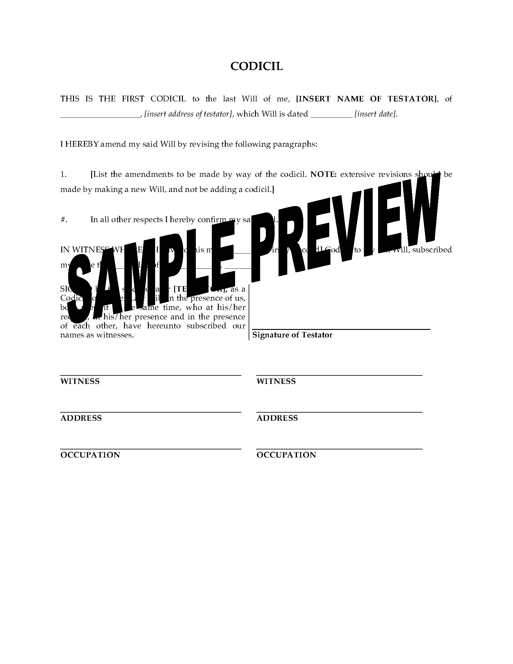 Alberta Codicil To Will Form | Legal Forms And Business Templates - Free Printable Codicil Form