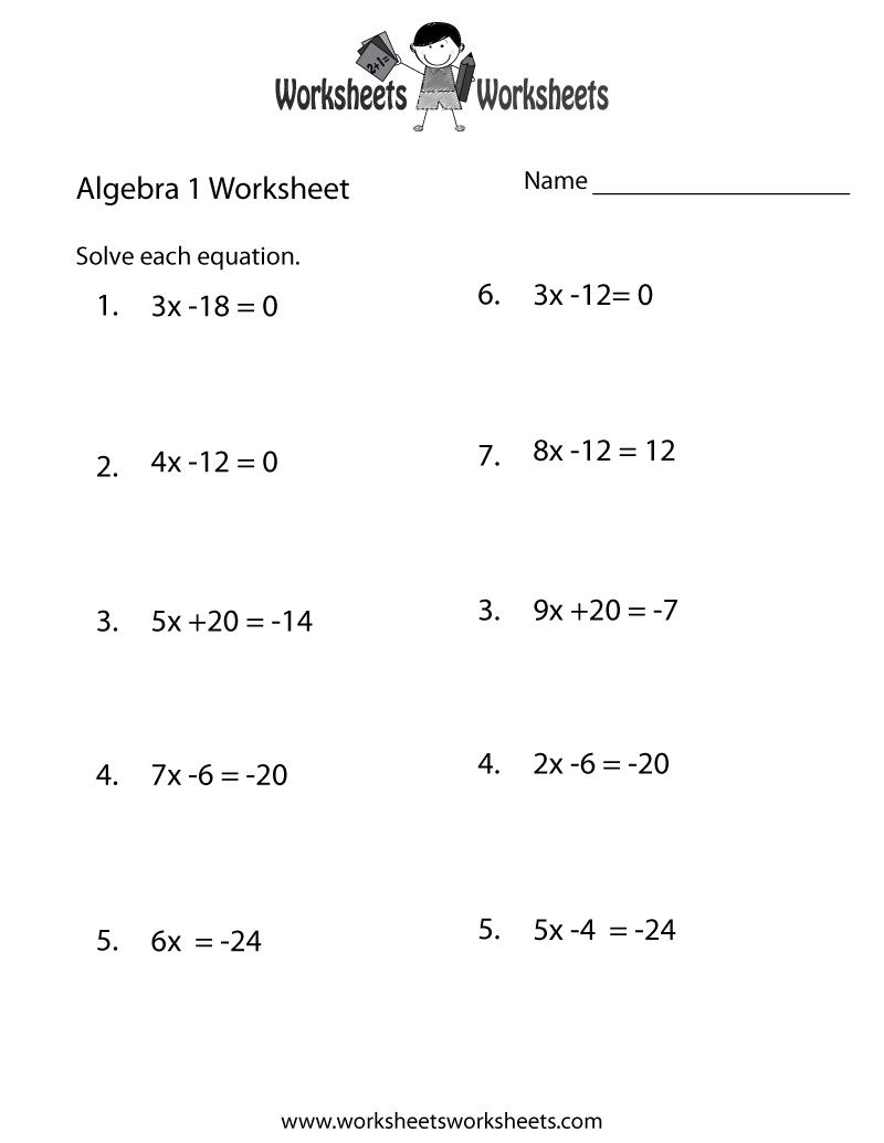 Algebra 1 Practice Worksheet Printable   Algebra Worksheets - Free Printable 8Th Grade Algebra Worksheets