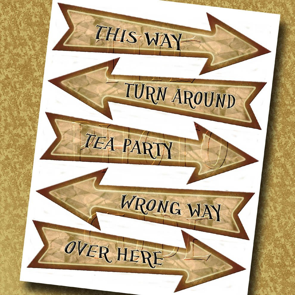 Alice In Wonderland Arrow Signs-This Way Wrong Way Tea | Etsy - Alice In Wonderland Signs Free Printable