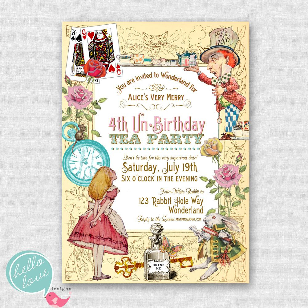 Alice In Wonderland Birthday Party Invitations Free | Cailini - Mad Hatter Tea Party Invitations Free Printable