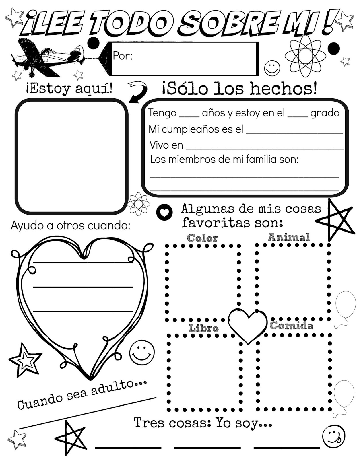 All About Me {Free Spanish Printable} | Discovering The World - All About Me Free Printable