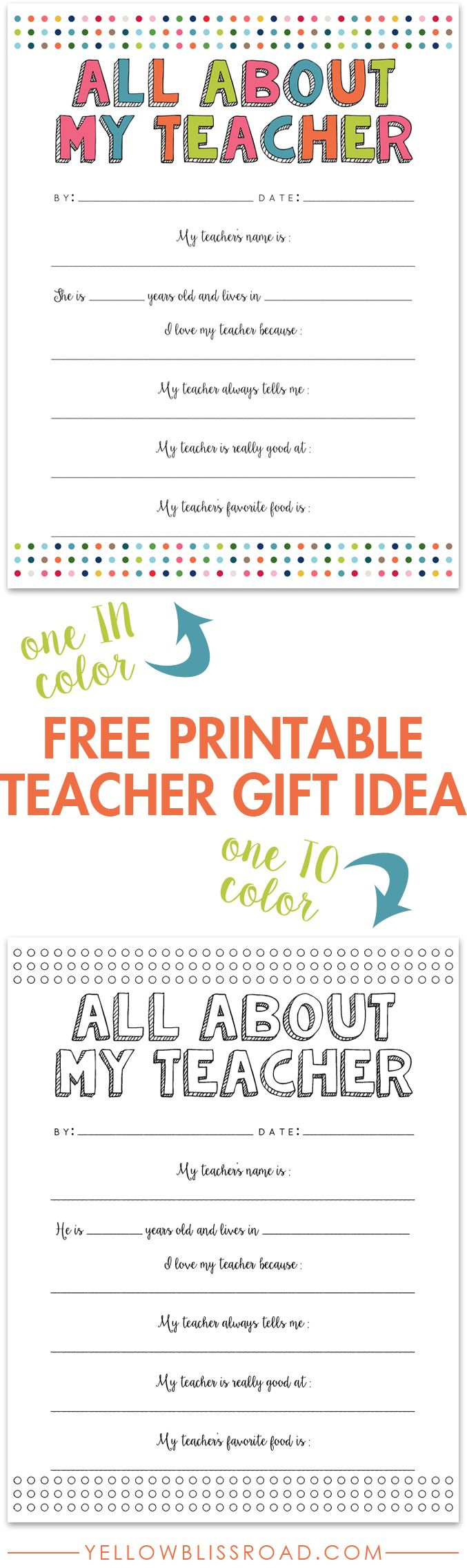 All About My Teacher Free Printable | Best Of Pinterest | Pinterest - All About My Teacher Free Printable