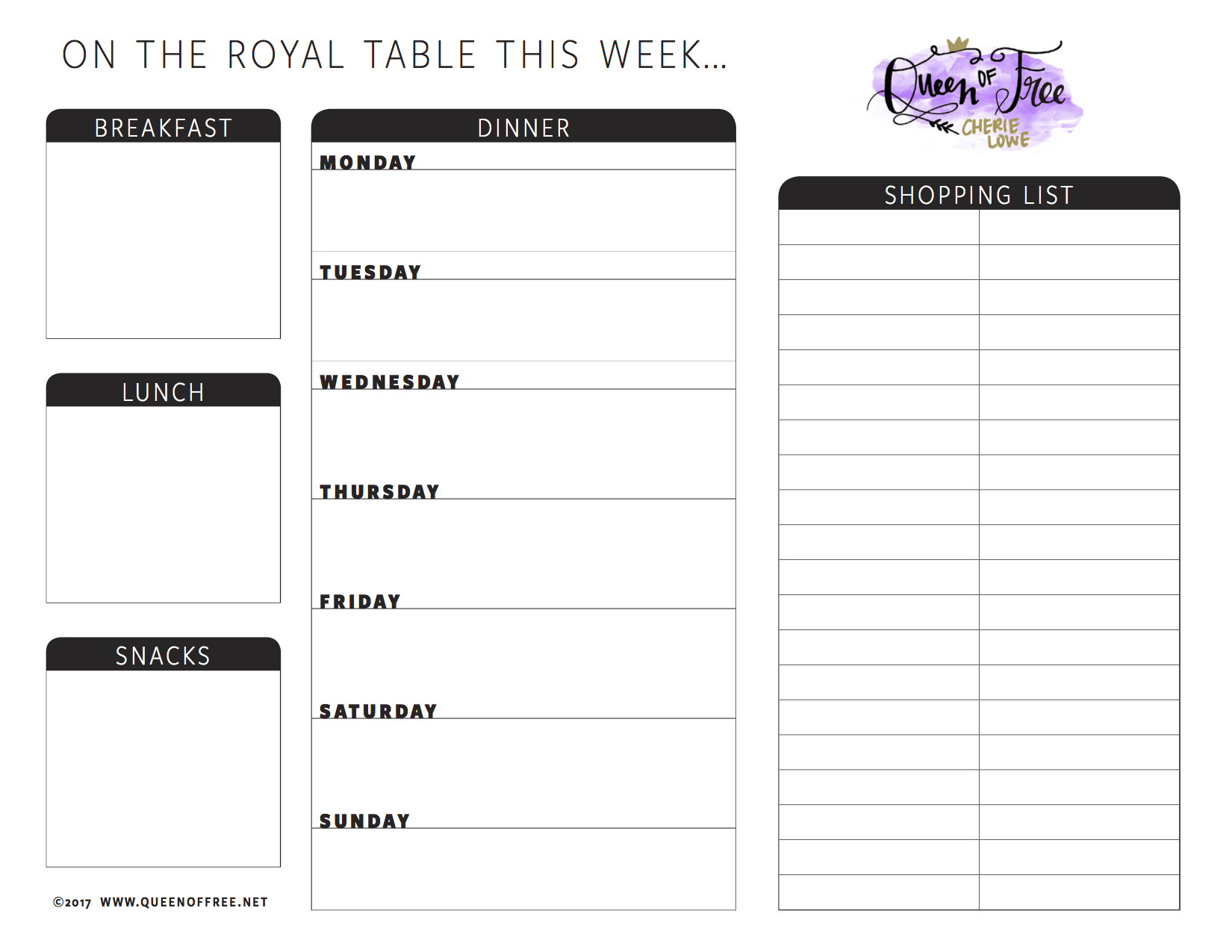 All New: Free Printable Meal Planner You Can Edit - Queen Of Free - Free Printable Meal Planner