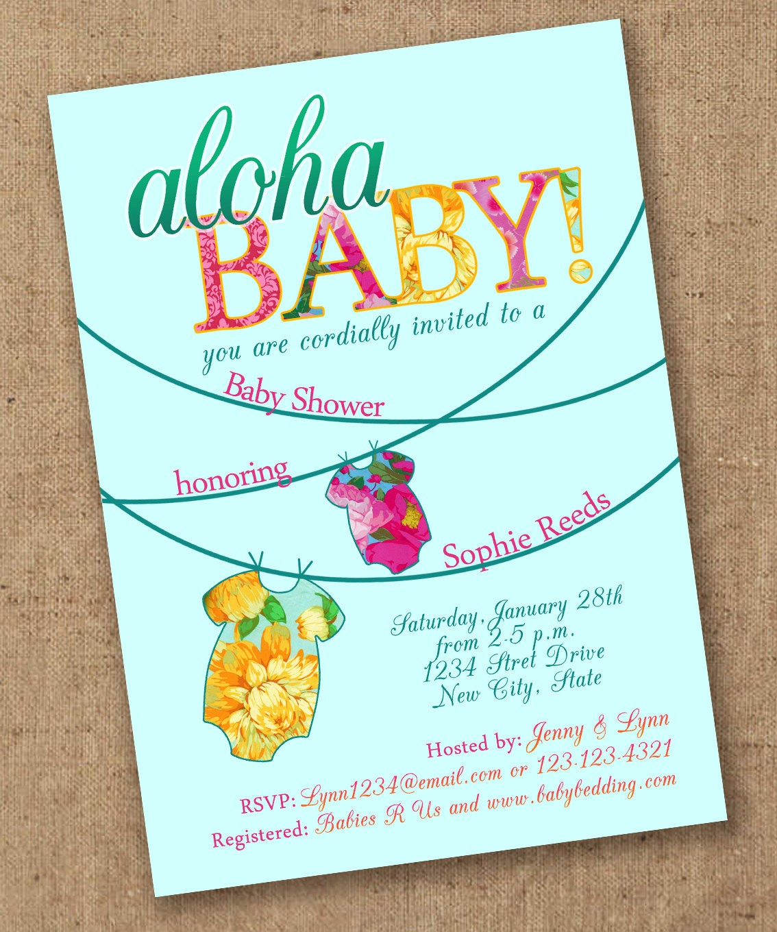 Aloha Baby Shower Invitation Luau Etsy Invitations 8 | Wadatlanta - Free Printable Luau Baby Shower Invitations