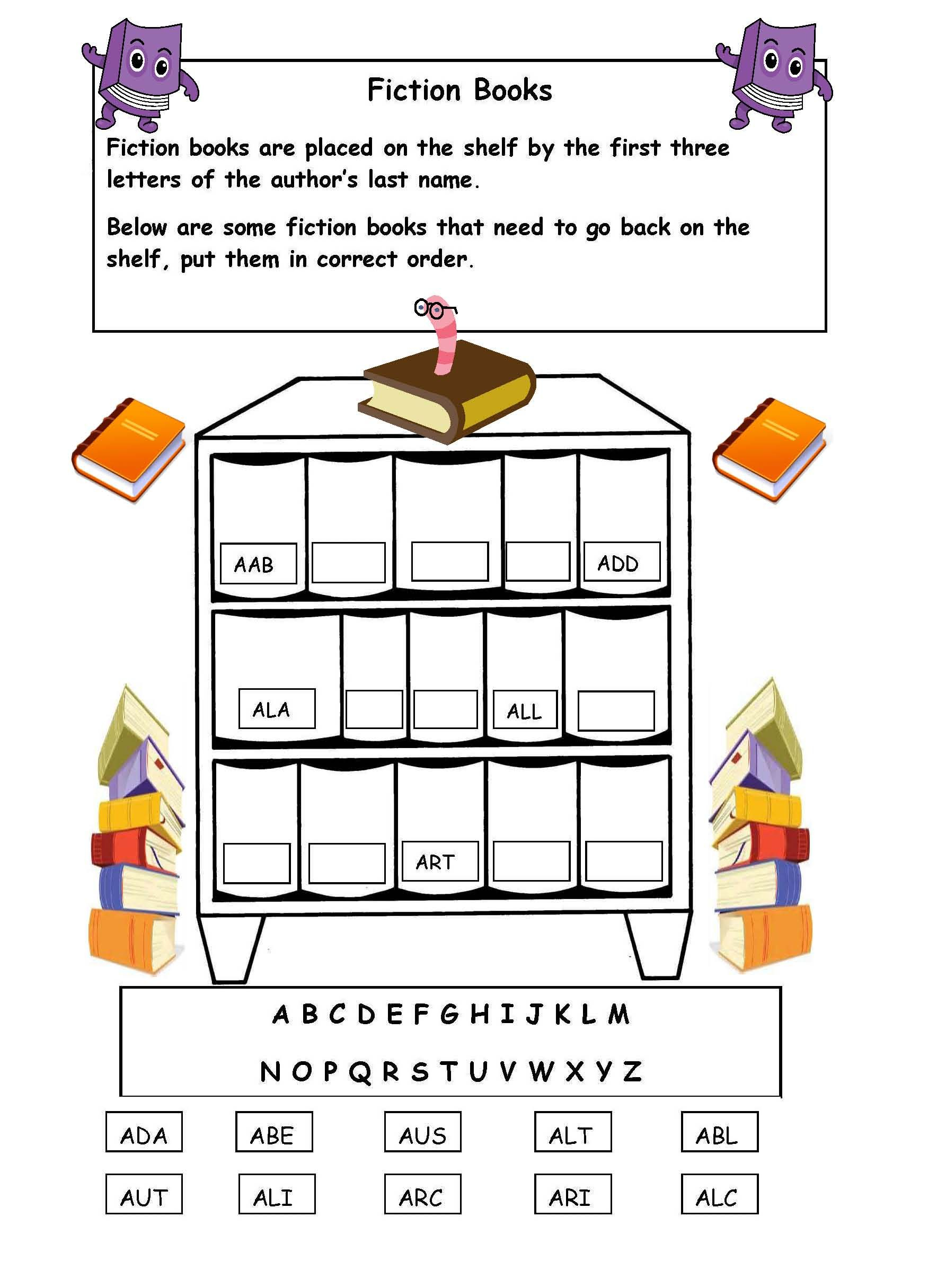 Alphabetical Order On The Shelf - Worksheet. | Library Skills - Free Printable Library Skills Worksheets