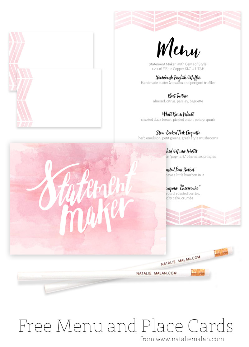 Alt Dinner Free Watercolor Menu And Place Cards - Natalie Malan - Free Printable Place Cards