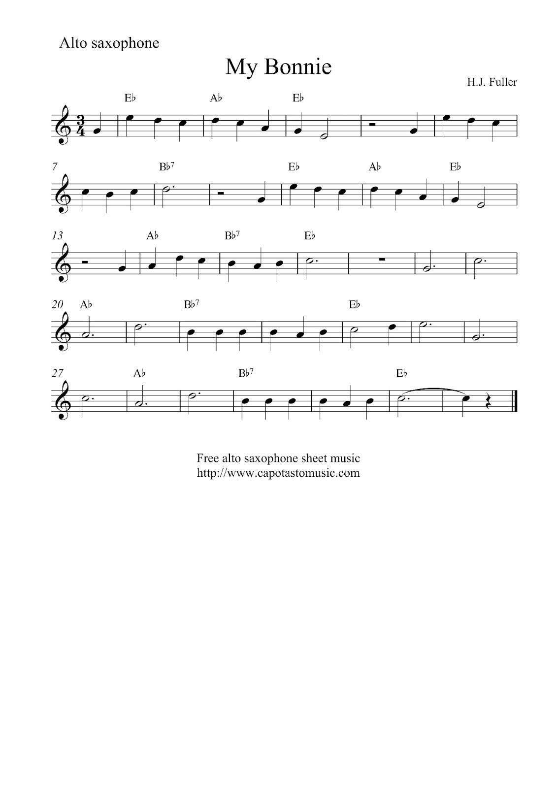 Alto Sax Easy Songs |  Sheet Music Scores: Free Easy Alto - Free Printable Alto Saxophone Sheet Music