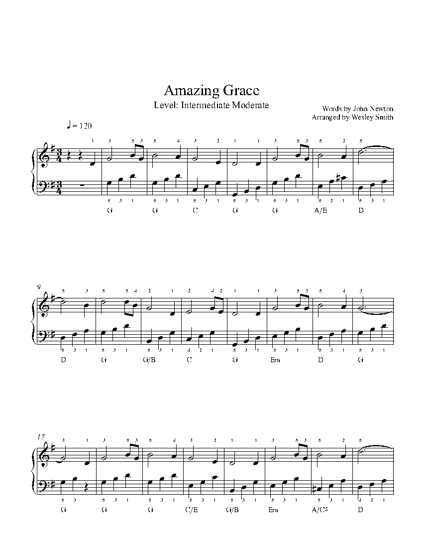 Amazing Gracetraditional Piano Sheet Music | Intermediate Level - Free Printable Sheet Music For Piano