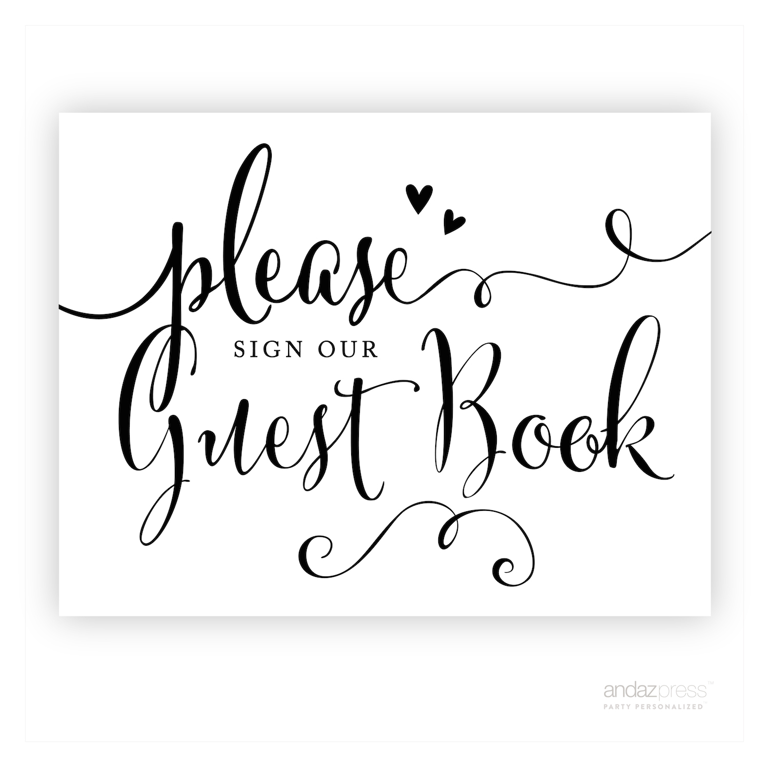 Andaz Press Wedding Ceremony And Reception Party Signs – Bride - Please Sign Our Guestbook Free Printable