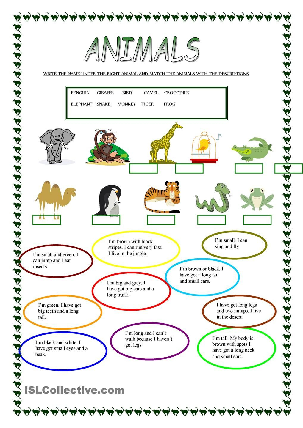 Animals | Free Esl Worksheets | Teachers Resources | Pinterest - Free Printable Esl Worksheets