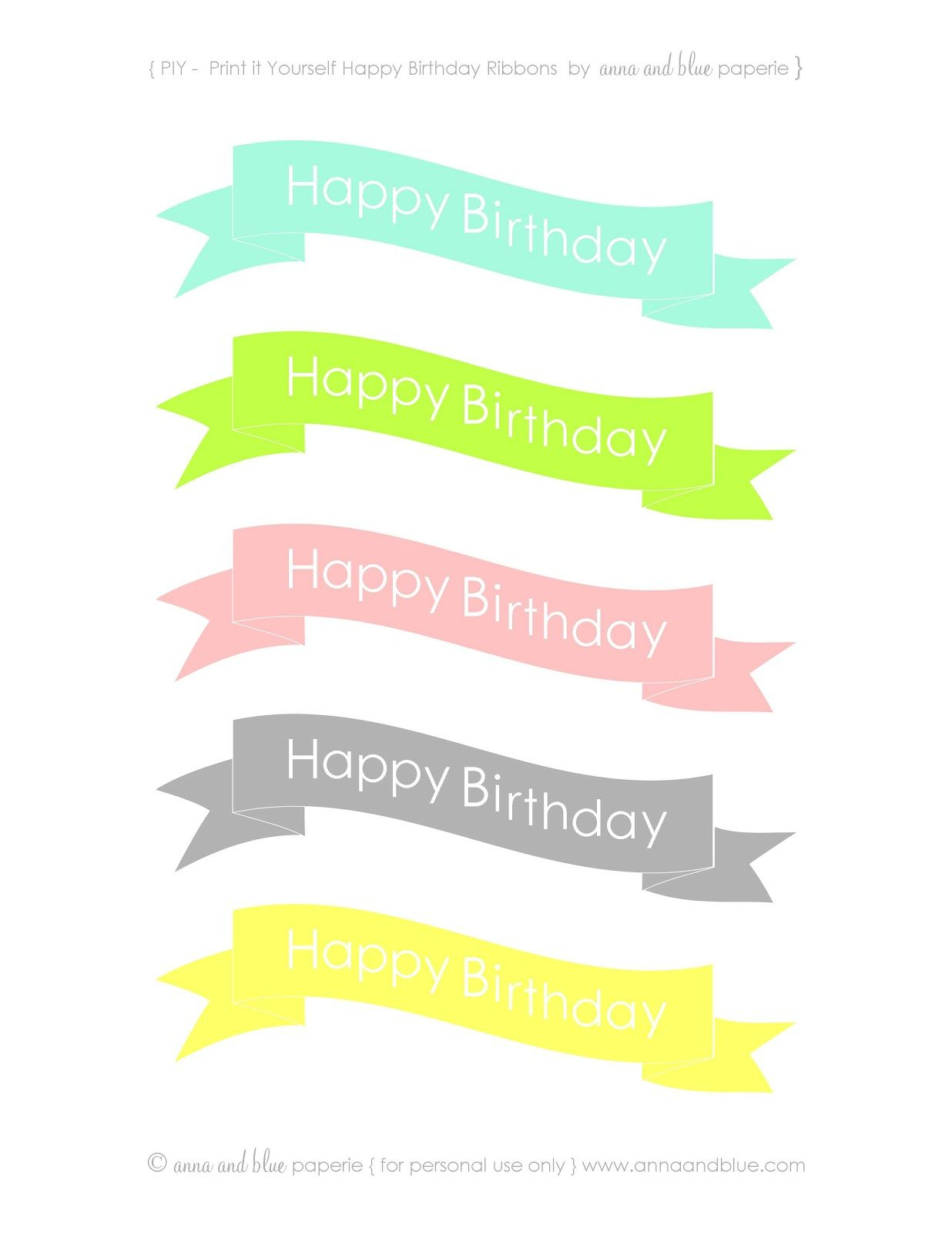 Anna And Blue Paperie: {Free Printable} Happy Birthday Cake Banners - Free Printable Birthday Cake