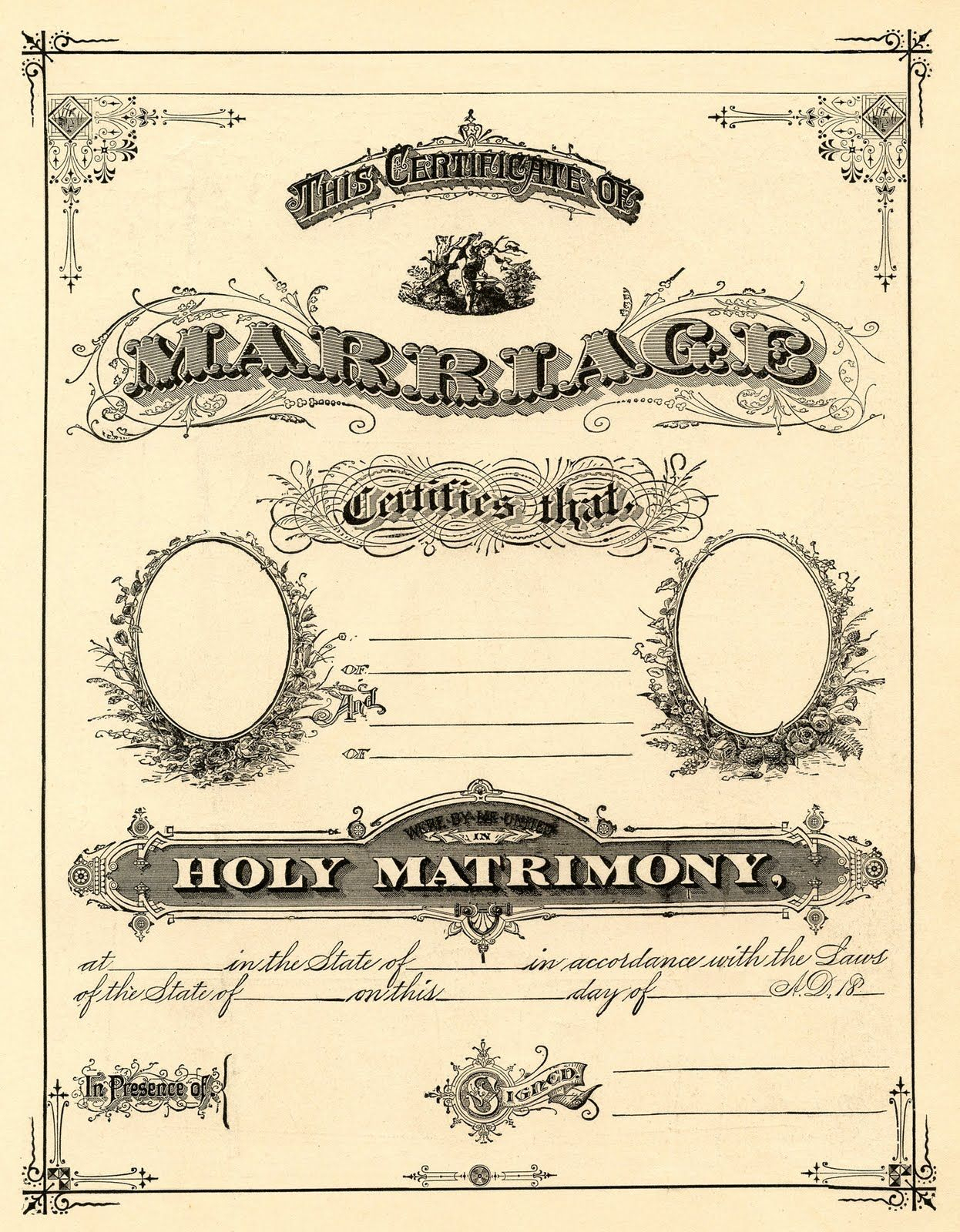Antique Ephemera Clip Art - Printable Marriage Certificate | Free - Free Printable Wedding Certificates