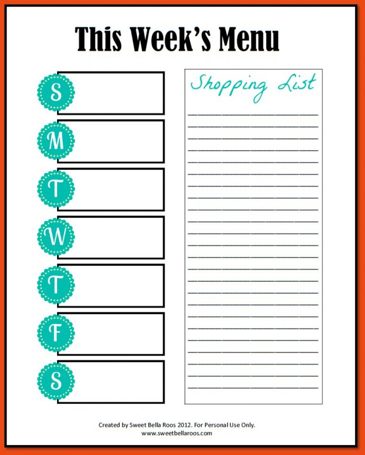 Menu Template Free Printable Word