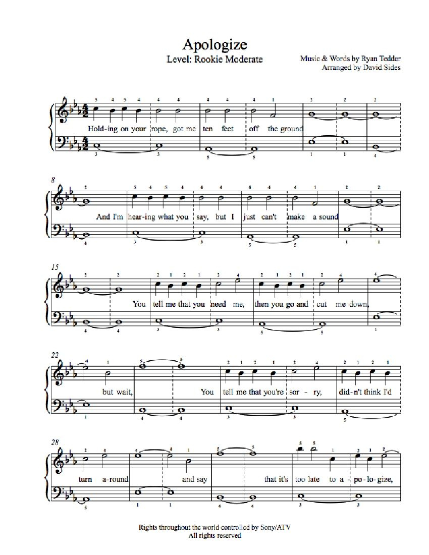 Apologizeone Republic Piano Sheet Music | Rookie Level - Apologize Piano Sheet Music Free Printable