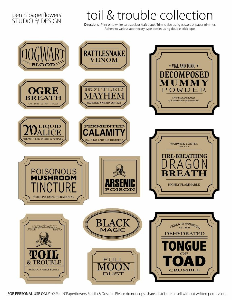 Apothecary Jar Labels | Toil & Trouble Collection (Page 3 • Colored - Free Printable Apothecary Jar Labels