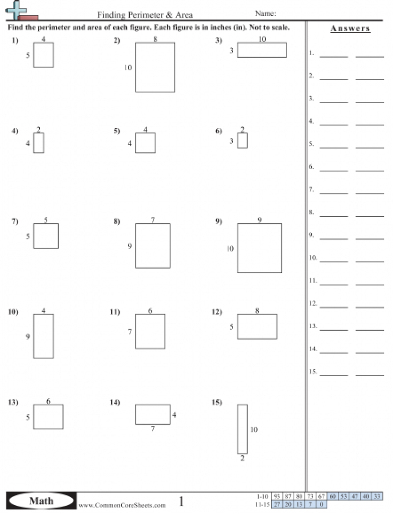 Area & Perimeter Worksheets With Free Printable Perimeter Worksheets - Free Printable Perimeter Worksheets 3Rd Grade