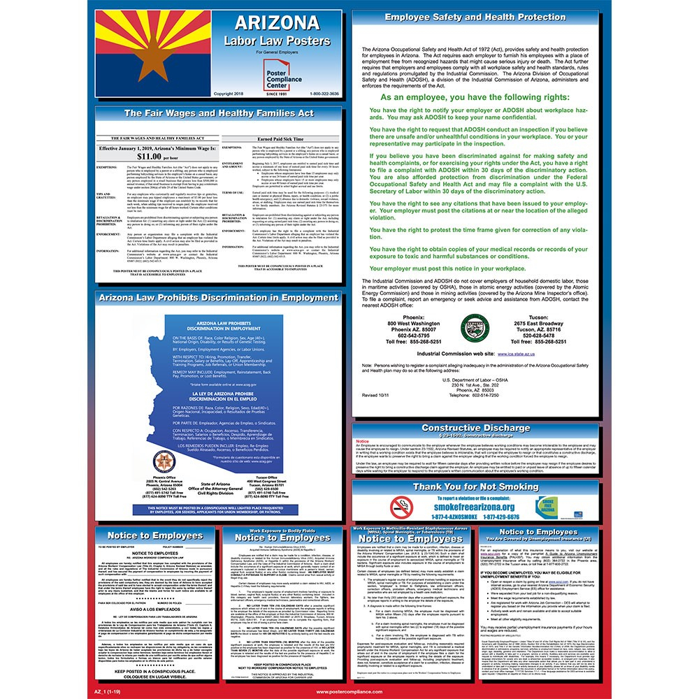 Arizona Labor Law Posters 2019 | Poster Compliance Center - Free Printable Osha Posters