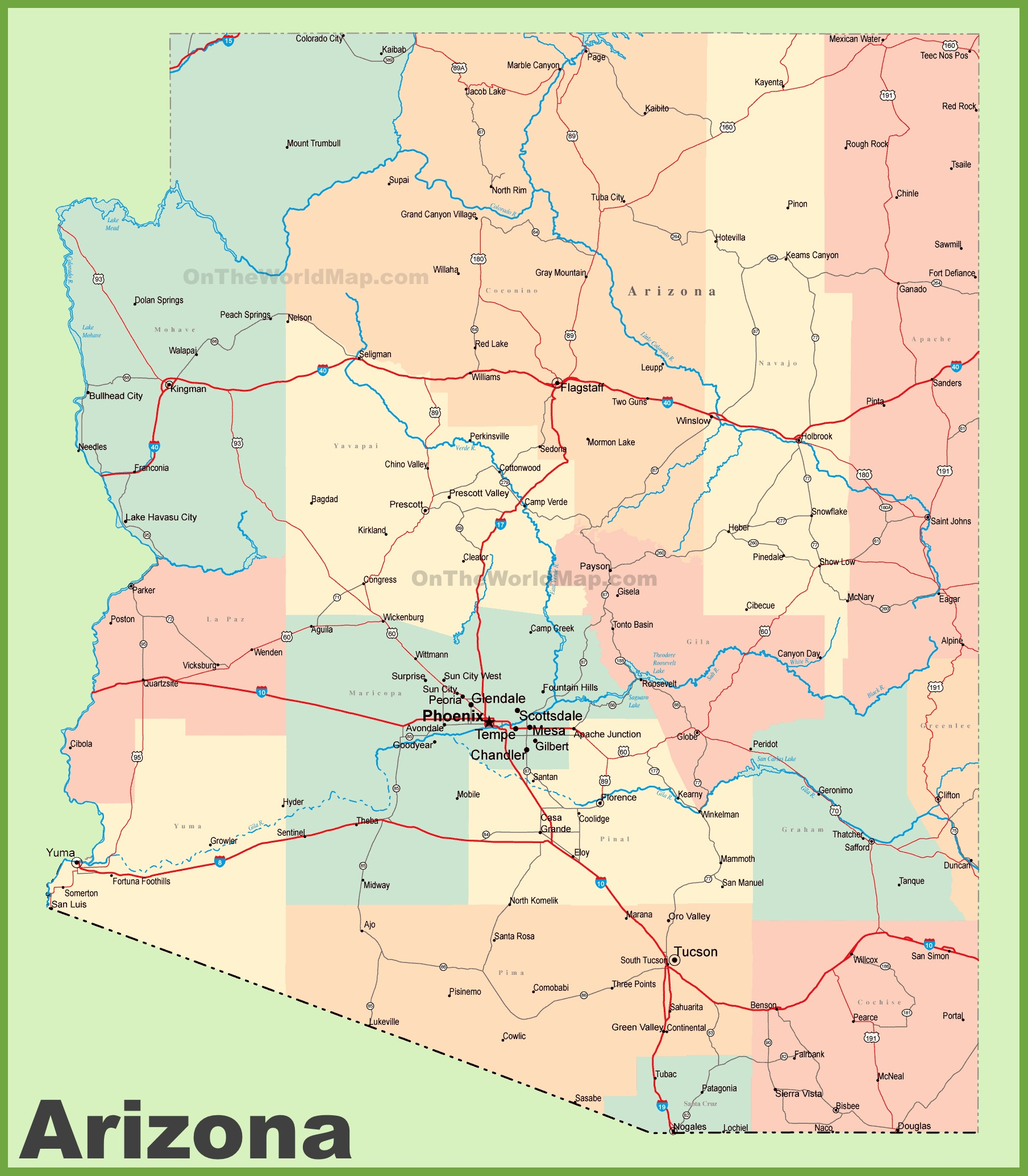 Arizona Road Map With Cities And Towns - Free Printable Map Of Arizona