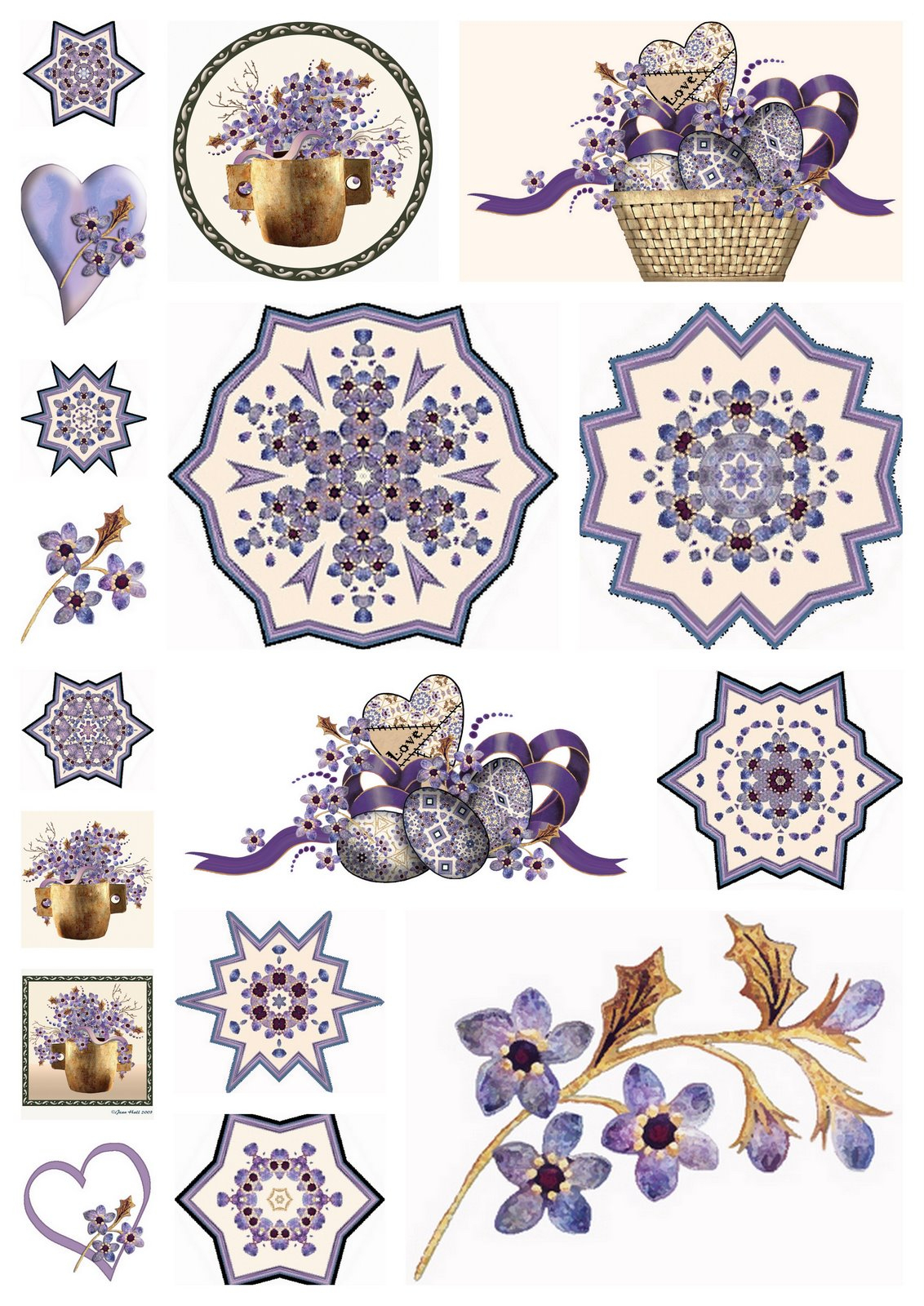 Artbyjean - Purple Wood Roses: Scrapbook Embellishments - Free Printable Scrapbook Decorations