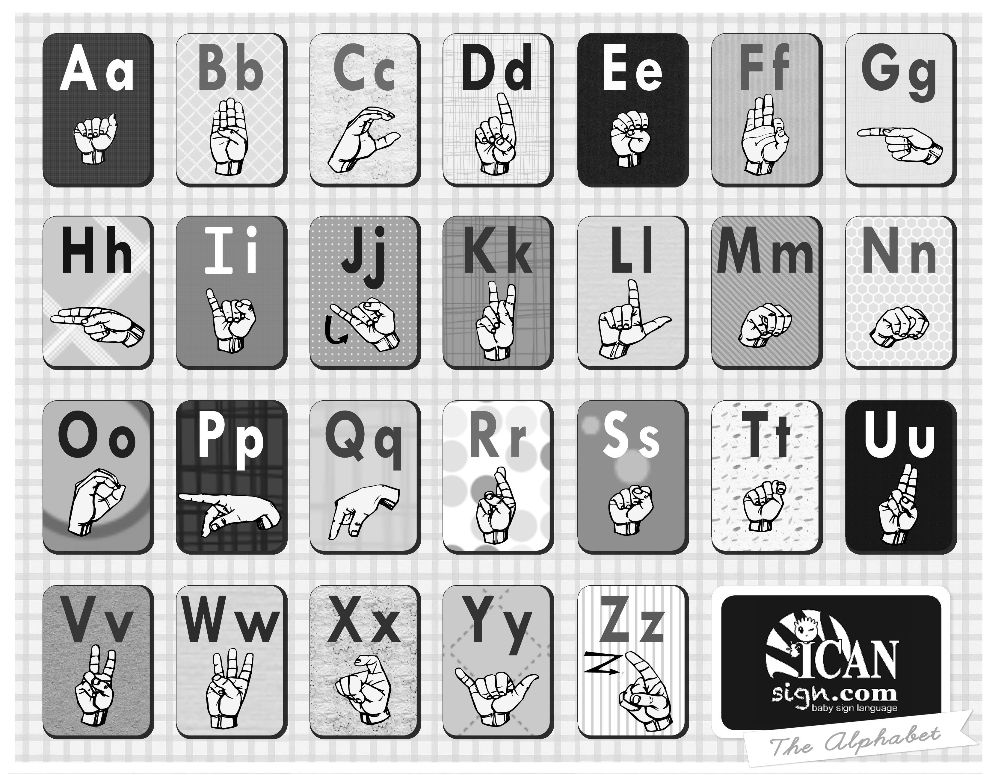 Asl Alphabet Chart And Asl Alphabet Flashcards | Baby Sign Language - Sign Language Flash Cards Free Printable